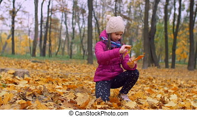 Adorable girl arranging bouquet of autumn leaves - Cute...