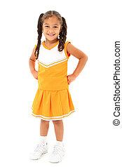 Adorable Girl Child Cheerleader in Uniform