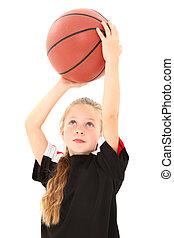Adorable Girl Child Making Free Throw with Basketball -...