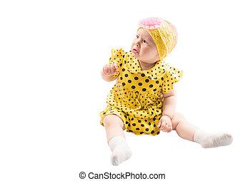 adorable, girl, peu, fond, enfant, isolé, blanc
