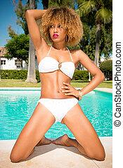 Adorable Girl Posing in White Bikini