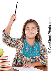 Adorable girl student asking to speak