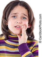 Adorable girl whit toothache on a over white background