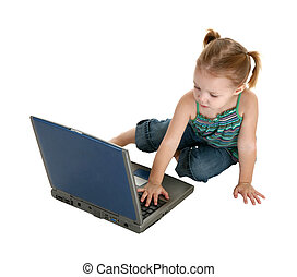 Adorable Girl with Laptop