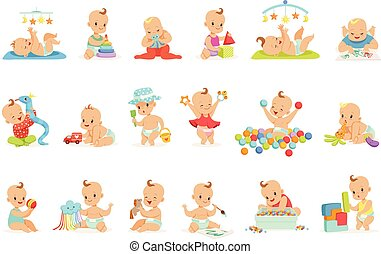 Adorable Girly Cartoon Babies Playing With Their Stuffed...