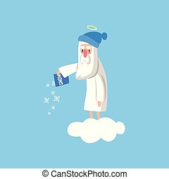 Adorable god cartoon character in action on white cloud. Happy Lord wearing winter hat and throwing snow on the ground. Flat vector