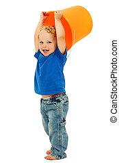 Adorable Happy Boy with Mop Bucket
