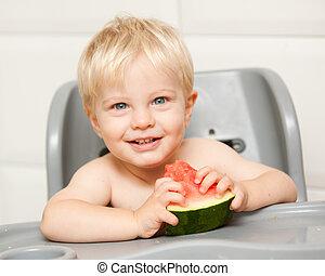 adorable, himself., manger, ceci, pastèque, apprécier, ...
