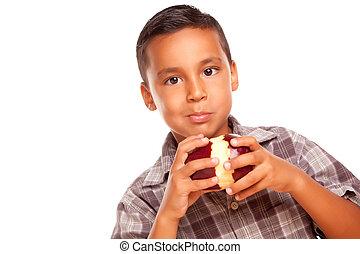 Adorable Hispanic Boy Eating a Large Red Apple