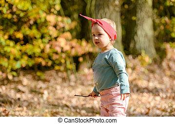 adorable, jour, amusement, girl, avoir, automne, beau