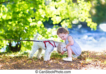 Adorable little baby girl playing with a pudel dog on a...