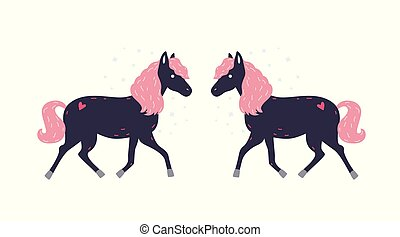 Adorable little black horse with pink mane and its symmetrical reflection. Cute magical fairytale pony. Funny cartoon domestic animal isolated on white background. Flat colored vector illustration.