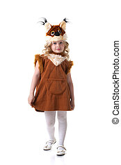 Adorable little blonde posing in squirrel dress