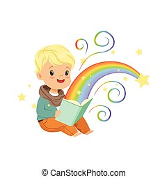 Adorable little boy reading magic book with fairy tales. Cartoon baby character. Children s imagination, rainbow and stars. Flat vector illustration