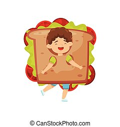 Adorable little boy wearing sandwich costume. Cute laughing kid. Fast food, tasty snack. Flat vector design