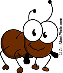 Adorable little brown cartoon ant with a happy smile and...