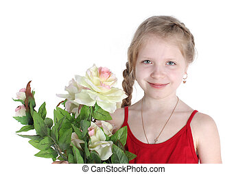 adorable little girl 8 year old with flowers on white...