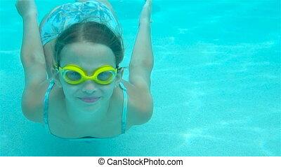 Adorable little girl having fun in outdoor swimming pool
