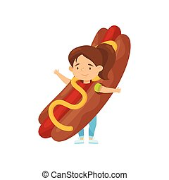 Adorable little girl in costume of hot dog. Junk food. Cute child with smiling face expression. Flat vector design
