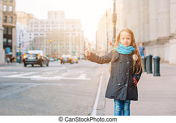 Adorable little girl in New York City