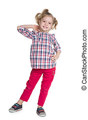 Adorable little girl on the white background