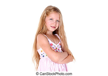 adorable little girl on white background