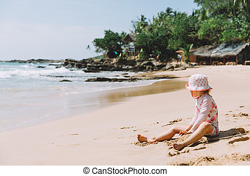Adorable Little Girl Playing Sand Tropical Beach
