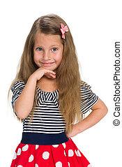 Adorable little girl thinks