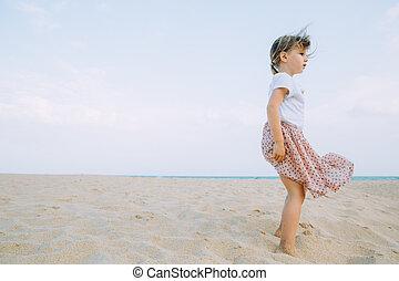 Adorable Little Girl Walking Sandy Beach