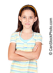 Adorable little girl with blue eyes isolated on white...