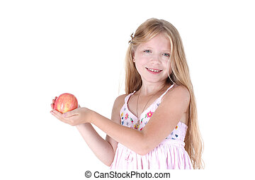 adorable little girl with red apple