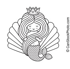 Adorable little princess mermaid, holding her long beautiful hair.