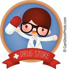 adorable, magasin, drogue, bannière