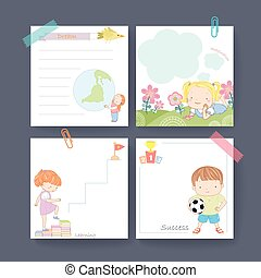 adorable memo paper template design for children