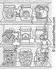 adorable mice coloring page - adorable mice with diverse jam...