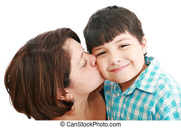 Adorable mother kissing her beautiful son isolated on white background