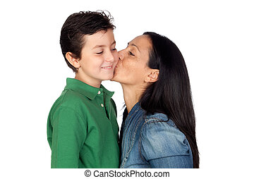 Adorable mother kissing her beautiful son