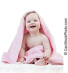 adorable, niña, toalla, bebé, feliz
