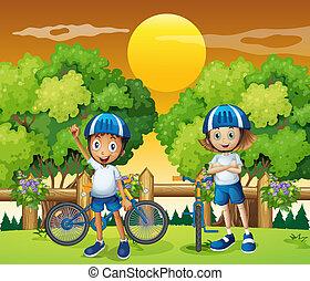 adorable, niños, biking, dos