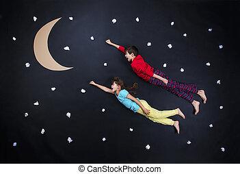 adorable, niños, el conseguir listo, para, noche, sueño