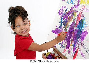 Adorable Painter - Adorable girl painting on easel over...