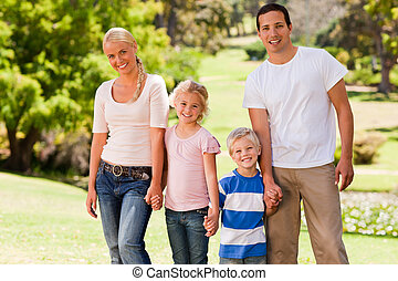 adorable, parque, familia