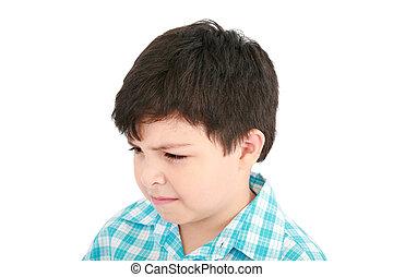 adorable, pequeño, niño, mirar el espectador, en, un, pensativo, mood.