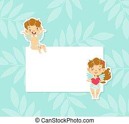adorable, peu, dorlotez fille, vide, anges, illustration., bannière, vecteur, chérubins, mignon, dessin animé, ciel, garçon