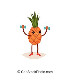Adorable pineapple doing exercise with dumbbells. Funny tropical fruit. Active and healthy lifestyle theme. Flat vector icon