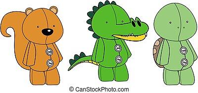 adorable plush animals toy kawaii style cartoons collection set