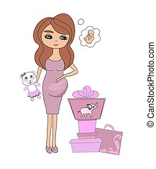 adorable pregnant girl with presents for a baby shower