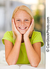 adorable preteen girl portrait at home