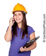 Adorable preteen girl with helmet and a mobile isolated on...