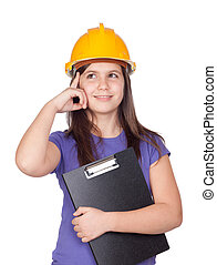 Adorable preteen girl with helmet thinking isolated on white...